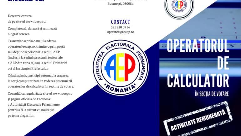 Înscriere pentru Secțiile de Votare – expert electoral și operator calculator