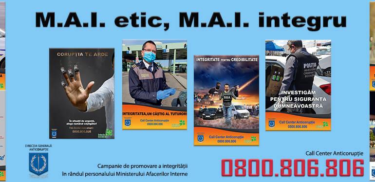 """Direcția Generală Anticorupție lansează Campania națională de promovare a integrității """"M.A.I. etic, M.A.I. integru"""""""